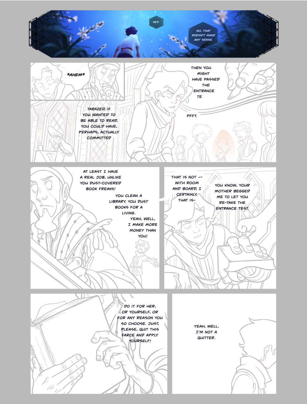 The same process occurs with the thumbnails in reverse. Zixing takes the script and draws out loose drafts which I then critique and give notes about.