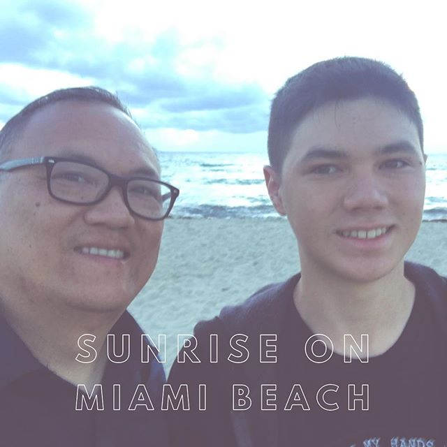 After a red-eye flight from Cali, the first thing my son and I did was watch the sunrise on Miami Beach. I'm looking forward to spending time with the guys from Spanish River Church.