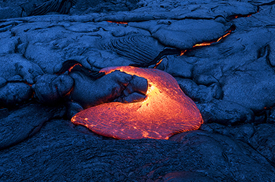 Fresh lava flows forming new islands of the Pacific.