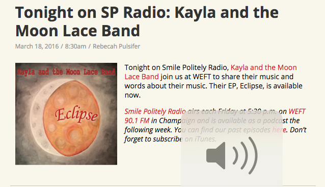 """Two members of  Kayla and the Moon Lace Band , Kayla DeSouza and Trevor Bush, stop by WEFT to discuss their music and new EP,  Eclipse.  """