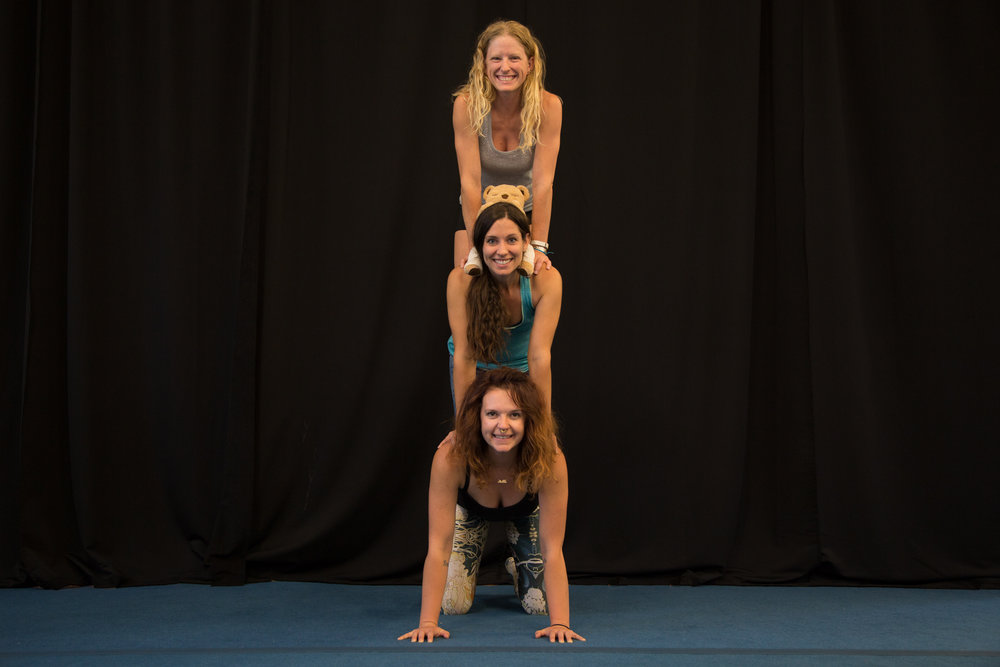 Bend Acro Family Teachers: Ariel, Alexis, Kady