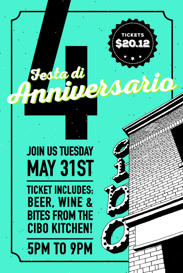 Cibo's 4th Birthday Promo & Ticket
