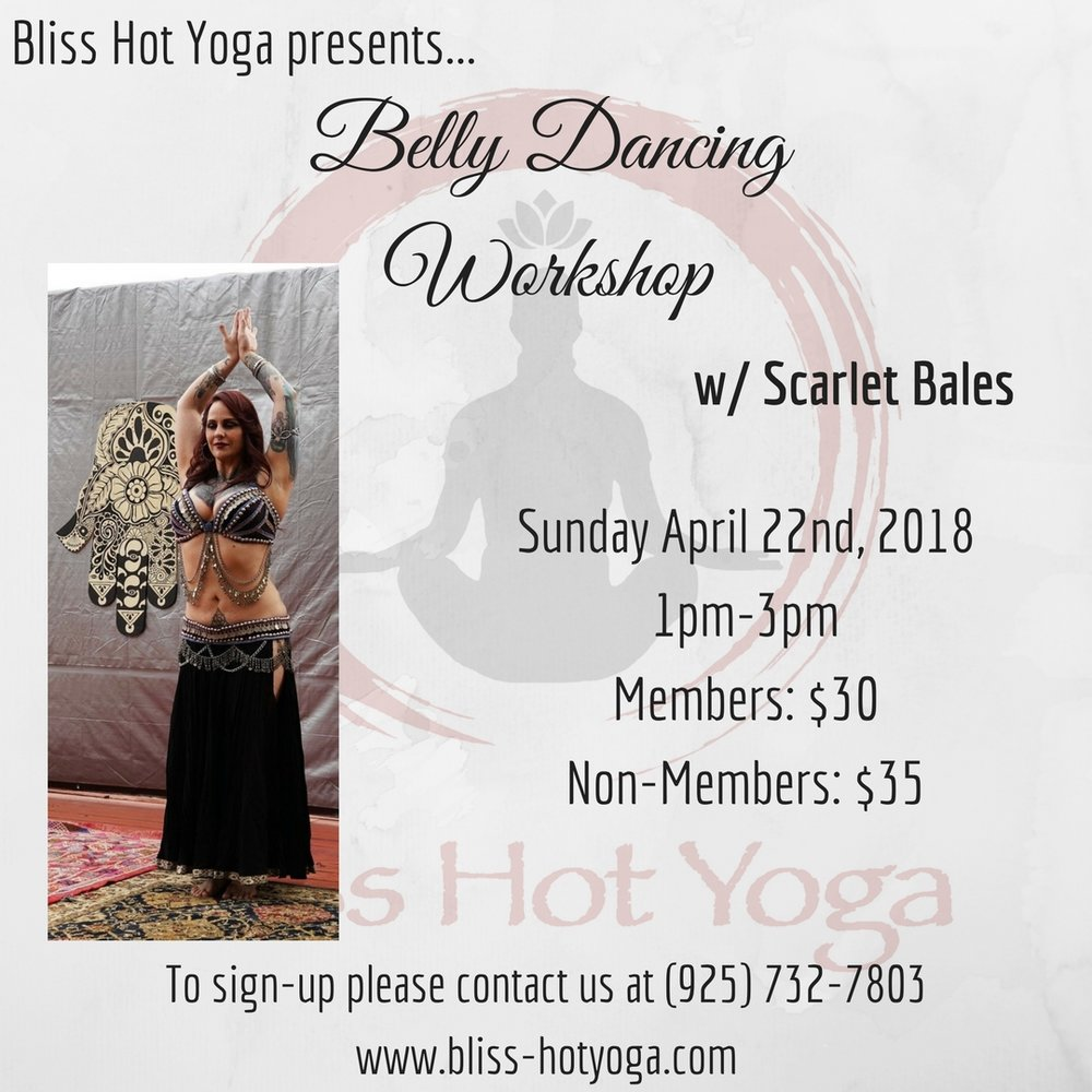 "The Art of Belly Dance is also known as ""La Danse Orientale"". The Salimpour Format have influenced countless dancers around the world. In this two hour workshop you will learn basic movements of the Salimpour Belly Dance Format. We will explore the Shimmy, Figure 8's, Mya, and the Omi. Focus will be learning a solid foundation for the skills necessary to develop physical strength as well as the mind-body connection. This workshop will consist of a short history of Belly Dance, followed by drills and movement across the floor to conclude with a short choreographed dance!"
