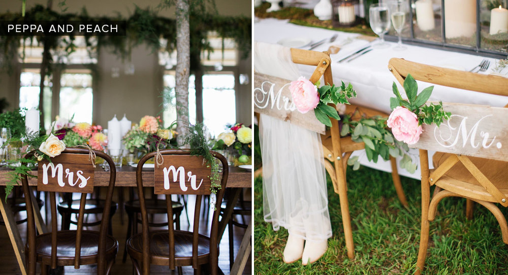 "Personal touches on the backs of your dinner chairs or at guest check-in signs create more excitement on the big day. Whether it's a simple, ""Mr. & Mrs."" sign or something more elaborate, make it personal and appropriate for you as a couple."