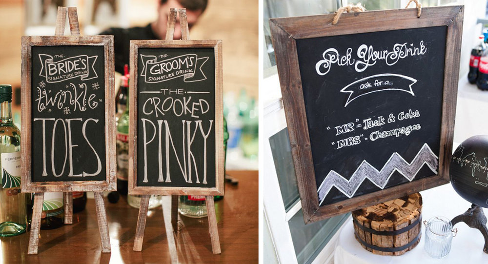 "Create 1-2 signature cocktails – think ""His and Her"" or ""Mr. and Mrs."" – and make them available to guests during the party. This will cut down on the cost of stocking a full bar with drinks guests may not be interested in otherwise."