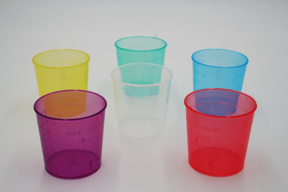 U/3002 - COLOR CASE 1260 (NON-STERILE)  The 3002 is a color-coded 2 oz autoclavable semiclear Medicine Cup. Colors available as shown.  Sterile cups also available in cases of 50 under order number 3002-color (e.g., 3002-red).