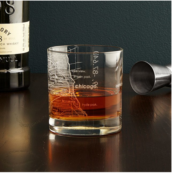city map whiskey glasses -