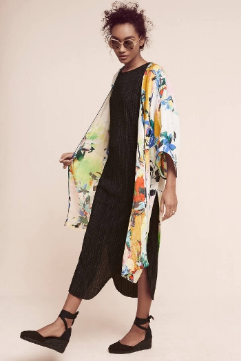Anthropologie Abstract Tropics Kimono
