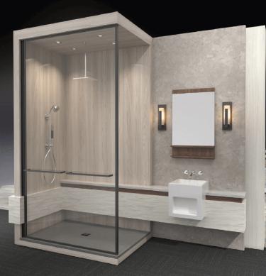 Wilsonart Wet Wall System – Benjamin Grey 1887K-22 (behind mirror wall), Grey Elm 8201K-12 (shower), Pearl Sequoia 5001K-07 (vanity wrap) and Mangalore Mango 7984-38 (vanity reveal).
