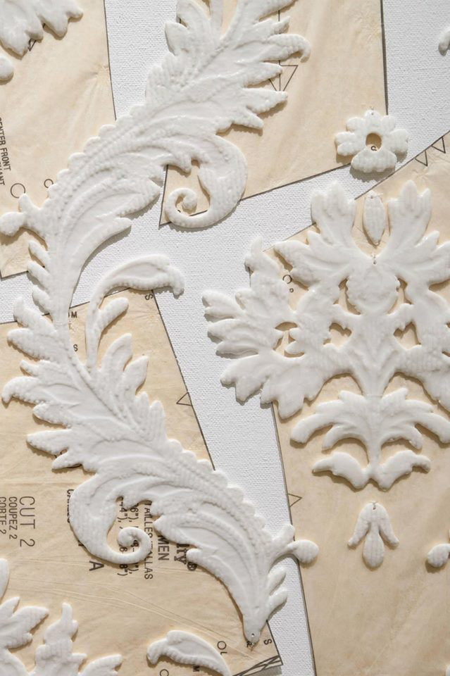 Wayne Mcara,  Flocking Behaviour  (detail), 2012, porcelain, paper and canvas on board, 102 x 38 cm. Photograph Lara Merrington