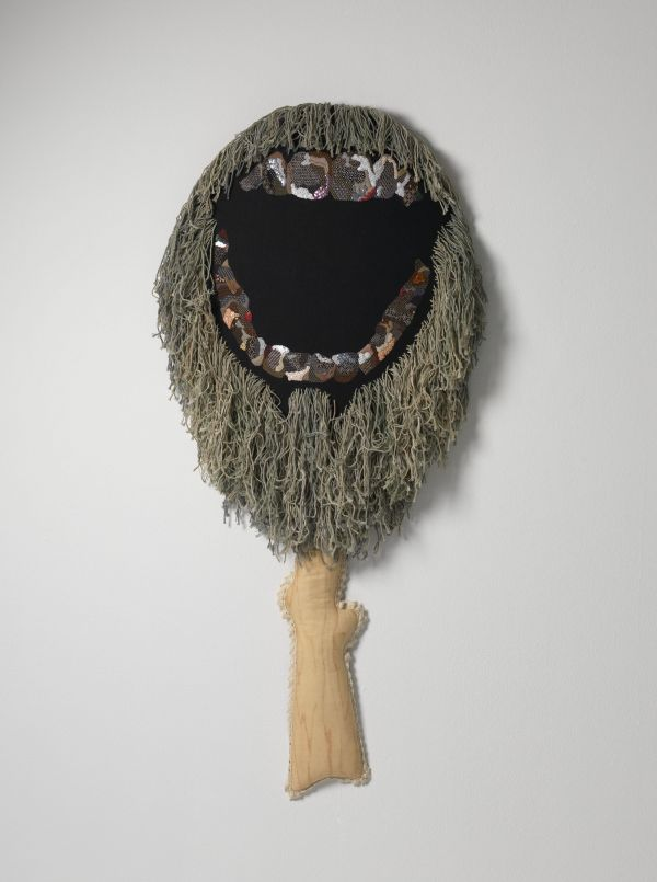 Sera Waters,  Going Bush: Beardo ,  linen, crewel, cotton, beads & sequins, hand-dyed cotton string, 120 x 57 x 10cm. Photograph courtesy of the artist and Hugo Michell Gallery, Adelaide.