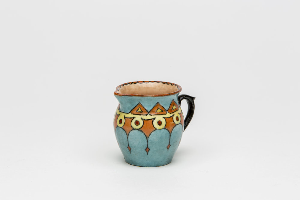 Maude Gum, 1885-1973,  China painted jug , c 1920-30s, 6.5 x 5.5cm.