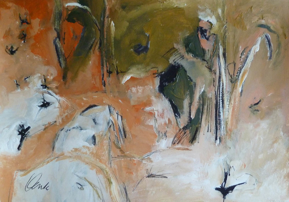 Irma Denk,  In the Artist's Garden with Birds , 2016, acrylic and charcoal on paper, 82cm x 67cm.