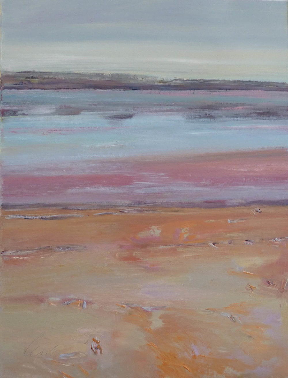 Irma Denk,  Pink Lake, Summer , 2016, 56cm x 68cm, oil on canvas paper.