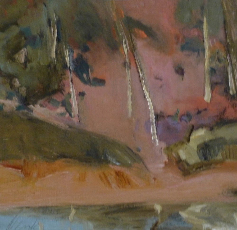 Irma Denk,  Pink Landscape with Trees , 2016, 47cm x 49cm, oil on canvas paper.