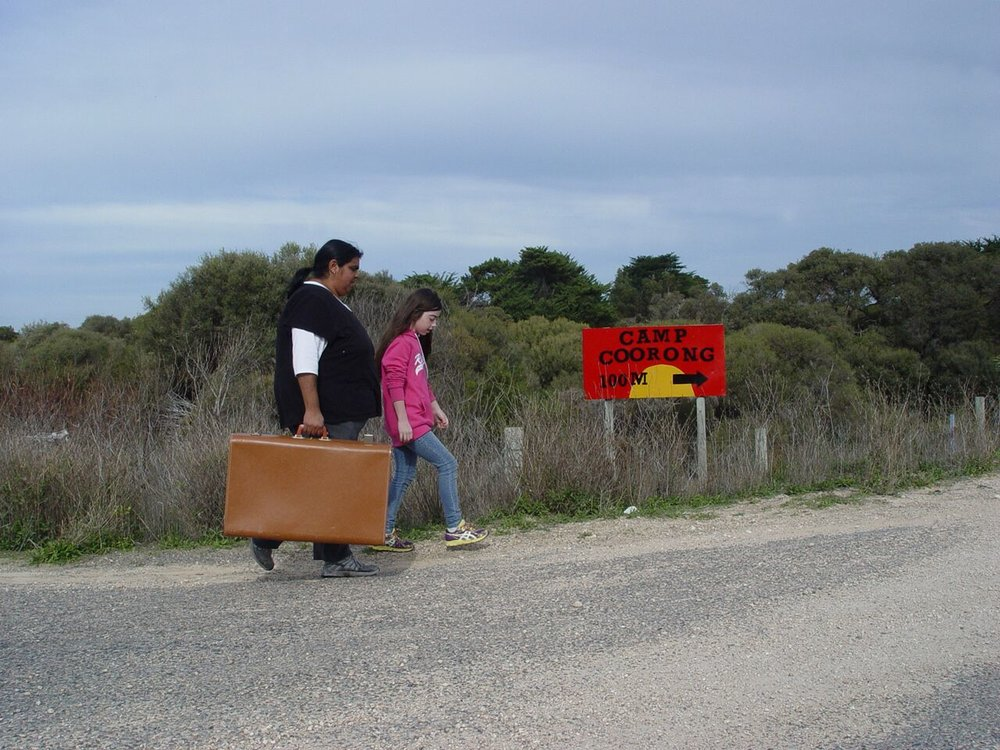 Artist Debra Rankine's Handheld suitcase arrives at Camp Coorong. Photograph Jenny Gale.