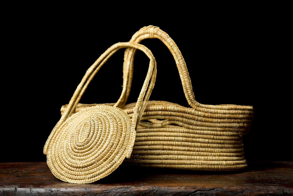 Ngarrindjeri Sister Basket and Carry Basket , Ellen Trevorrow, 2017, Ngarrindjeri woven rushes. Photo Johanis Lyons-Reid