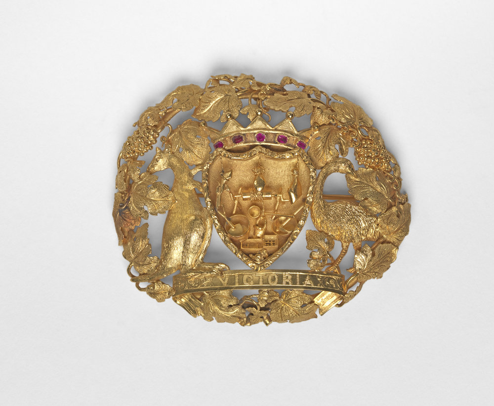 Unknown silversmith ,  Lola Montez brooch, c.1855, gold, rubies.  National Gallery of Australia, Canberra. Purchased 2014.