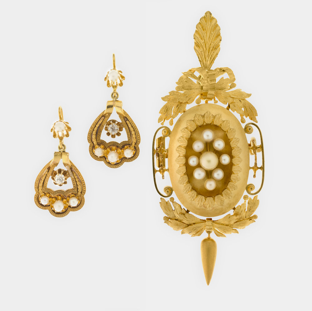 Henry Steiner,   Pendant/brooch and pair of ear pendants set, in fitted case  c.1870. 18 carat gold, seed pearls, diamonds. National Gallery of Australia, Canberra. Purchased 2012