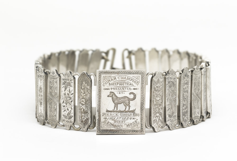 Unknown Australian silversmith,   Cobar Champion Sheep Dog Trial trophy collar  c.1884, engraved silver. National Gallery of Australia, Canberra. Purchased 2008