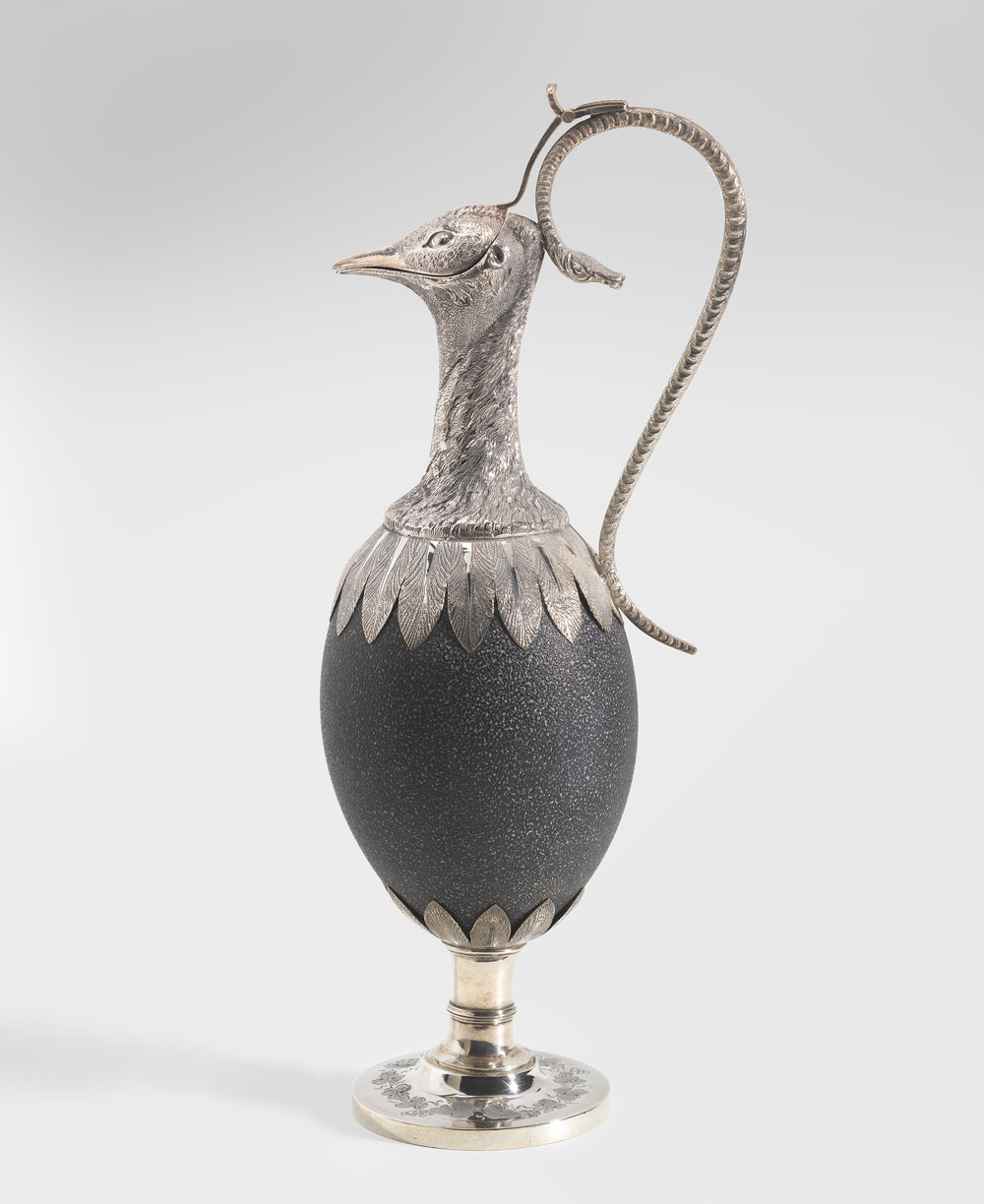 Henry Steiner,   Emu egg claret jug  c.1875, sterling silver: raised,stamped, repousse, chased; emu egg: mounted. National Gallery of Australia, Canberra. Purchased 2014