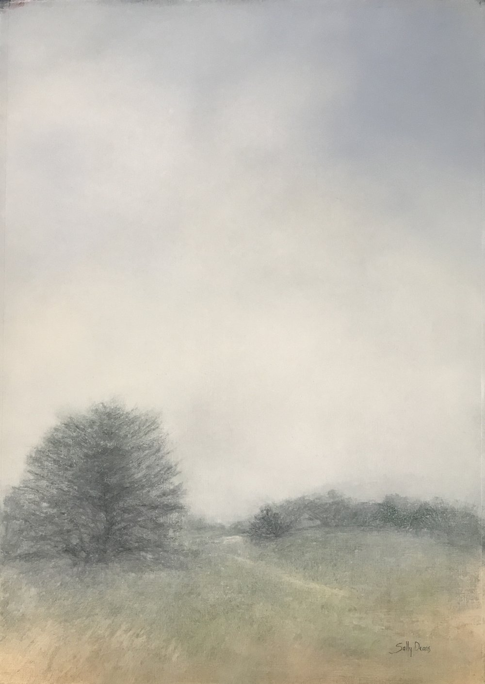 Sally Deans,  Seasons of Mists - in the Pines , 2017, oil on paper, 105 x 80cm