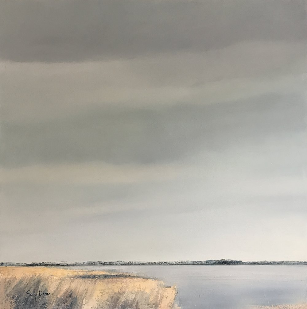 Sally Deans,  May Afternoon in Silver and Gold , 2017, oil on canvas, 78 x 78cm