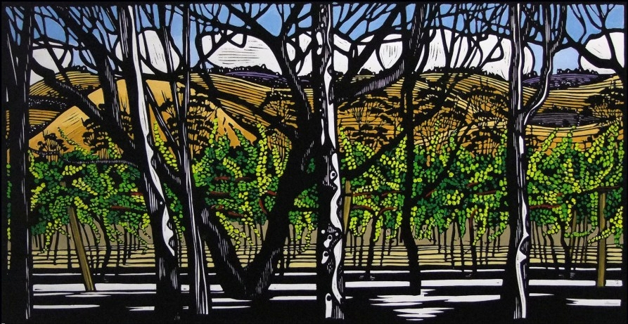 Gail Kellett,  Along Little Road , linoprint, 70 x 40cm