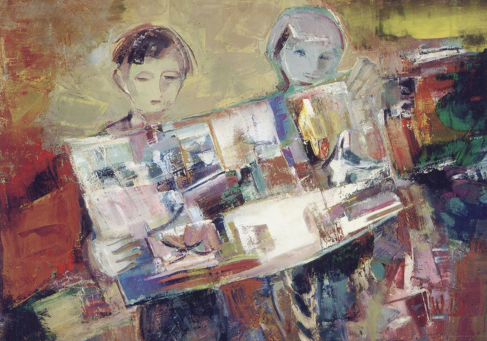 Wladyslaw Dutkiewicz,  Children Playing , 1964, oil on board