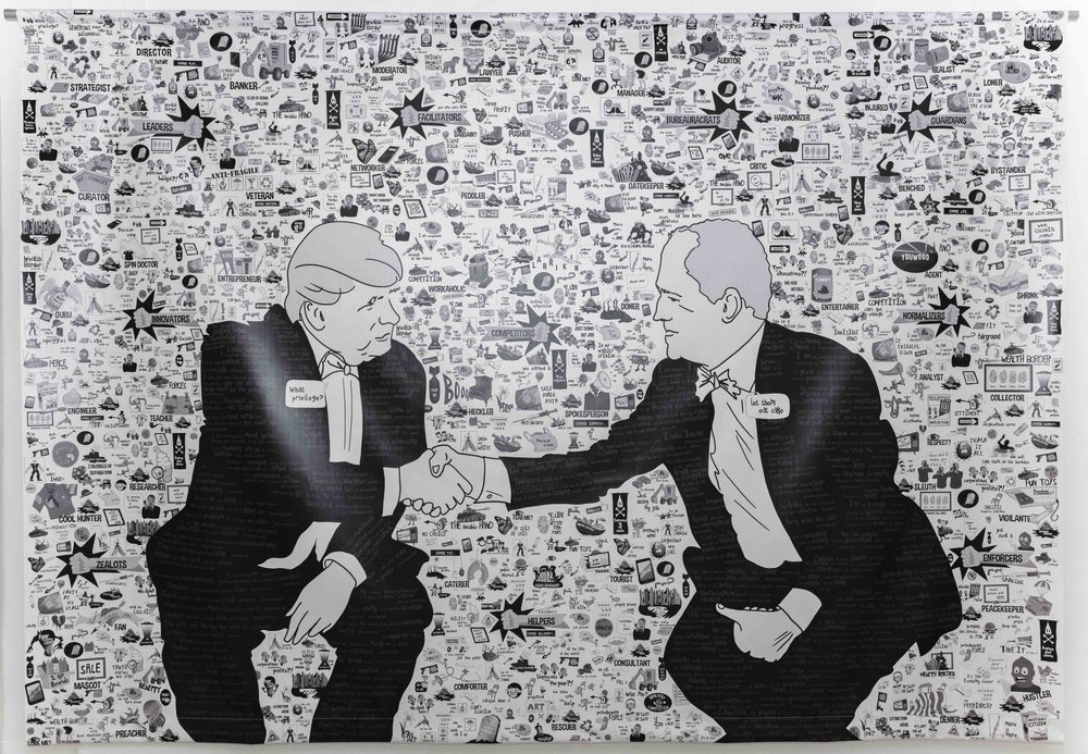 Jen Lyons-Reid and Carl Kuddell,  The Handshake, 2018, mixed media on canvas. Image: Wild Light Projects copyright 2018 Change Media