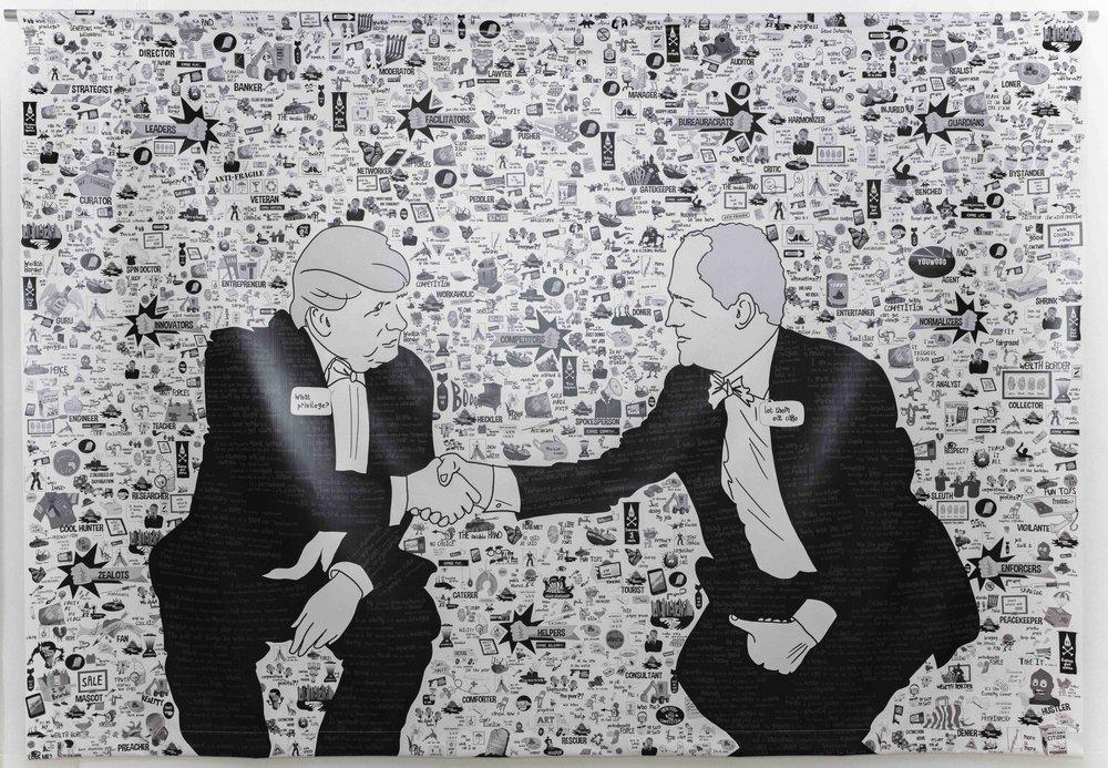Jen Lyons-Reid, The Handshake, 2018, mixed media on canvas. Image: Wild Light Projects copyright 2018 Change Media