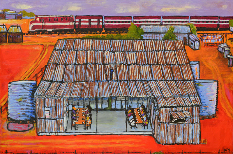 Kunyi June Anne McInerney,  Mission Buildings with Dining Area , 2017, acrylic on canvas, 61 x 91cm. On loan from Migration Museum, a division of History Trust of South Australia. Image courtesy of the artist.