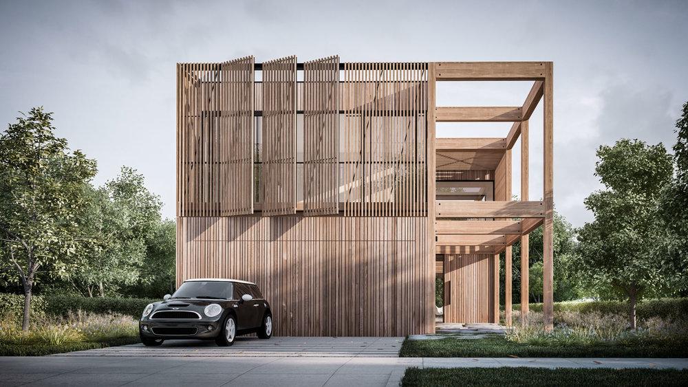 Frame House: Front Facade