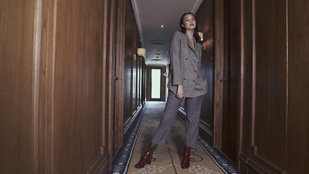 Suit & boots: Zara