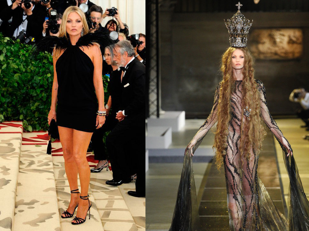 left: Kate Moss in Saint Laurent, right (we wish she would wear this instead): Guo Pei Spring 2017