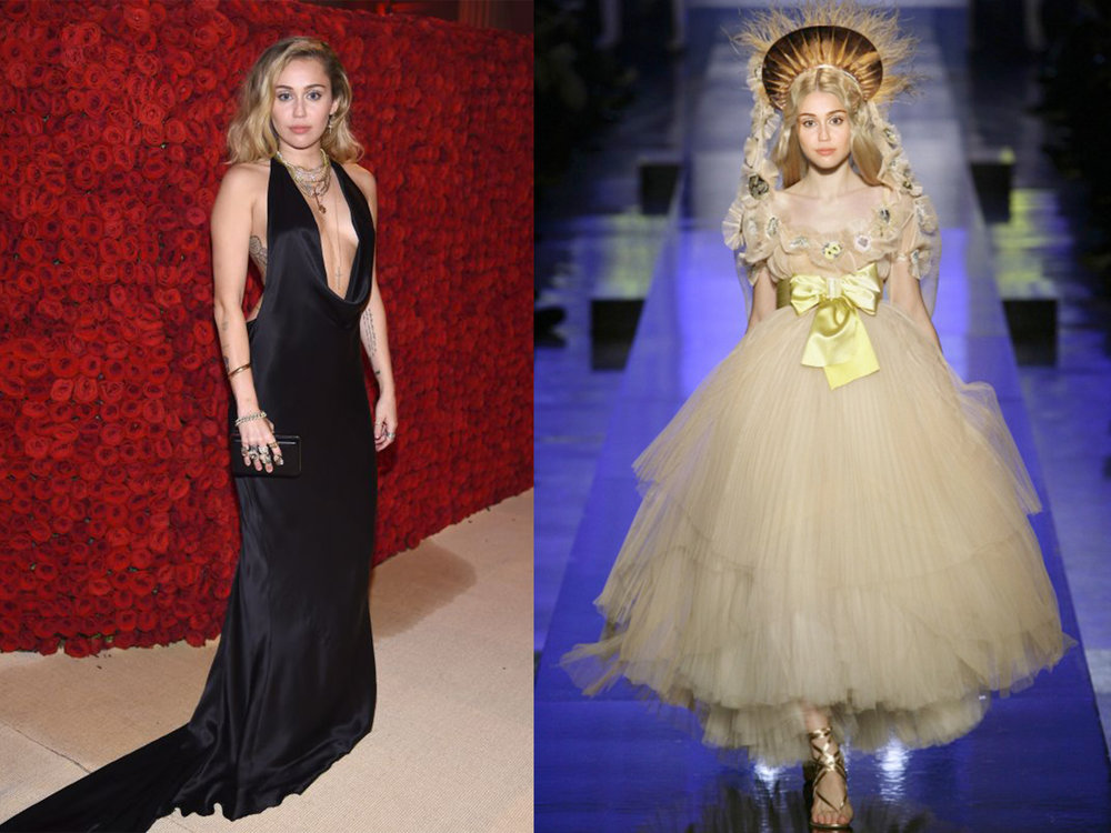 left: Miley in Stella McCartney, right (we wish she would wear this instead): Jean Paul Gaultier SS 2007