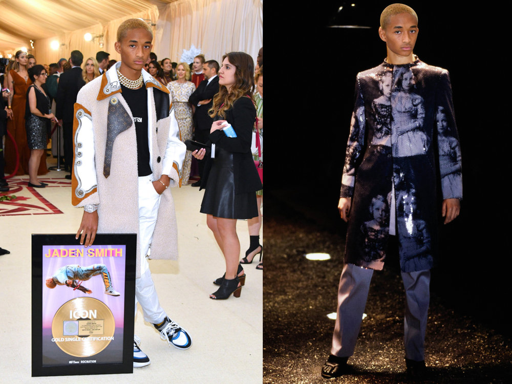 left: Jaden Smith in Louis Vuitton, right (we wish he would wear this instead): Alexander McQueen Fall 1998