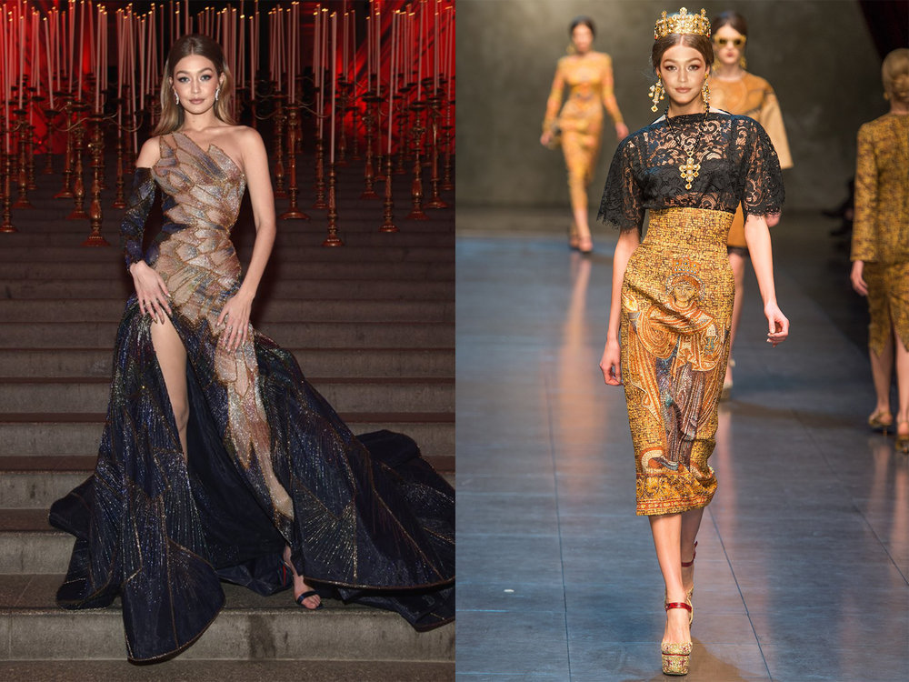 left: Gigi in Versace, right (we wish she would wear this instead!): Dolce and Gabbana Fall 2013
