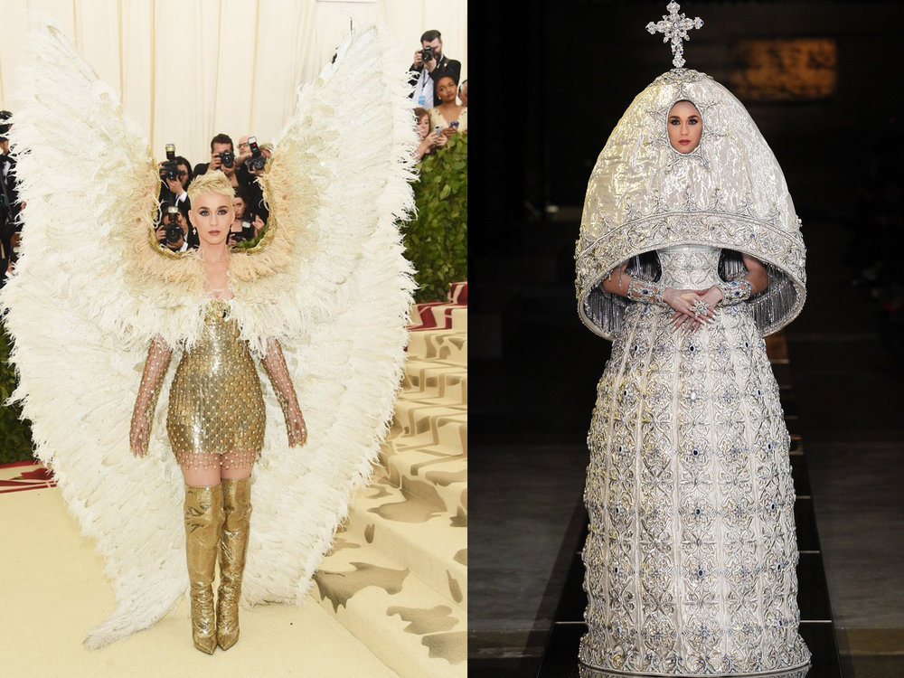 left: Katy in Versace, right (we wish she would wear this instead): Guo Pei Spring 2017