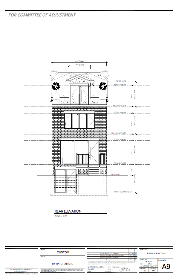 Custom home plans for our client in Riverdale, Toronto. We won this property by a few thousand dollars after competing with 8 other offers.