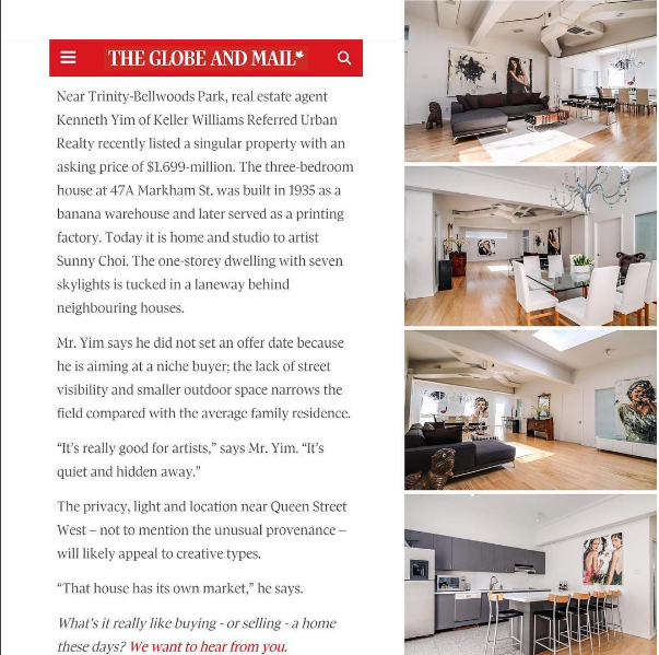 This property was featured in the Globe and Mail.