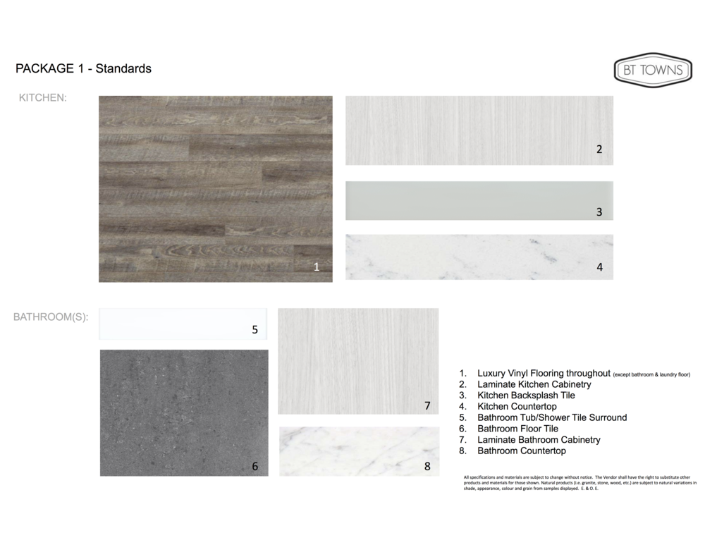 Standard Finishes and Features - Package 1
