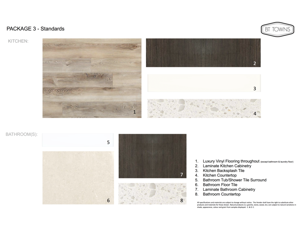 Standard Finishes and Features - Package 3