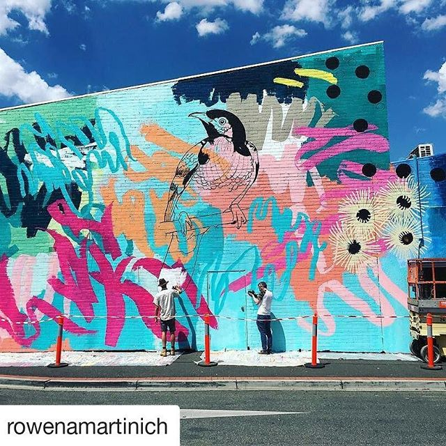 Reposting these awesome in progress shots by @rowenamartinich @geoffreycarran ・・・ Coming along nicely with some yellow box flowering gum coming into form, a regent honeyeater and more exploding linework. All being documented on film thanks to Michael Bird. Can this weather just calm down a bit! 🔥🌞🔥#muralpainting #yellowbox #regenthoneyeater #abstraction #colour #explosion #colab #collaboration #martinichandcarran #publicart #street #streetart #largescale @niddrie_shopping_precinct