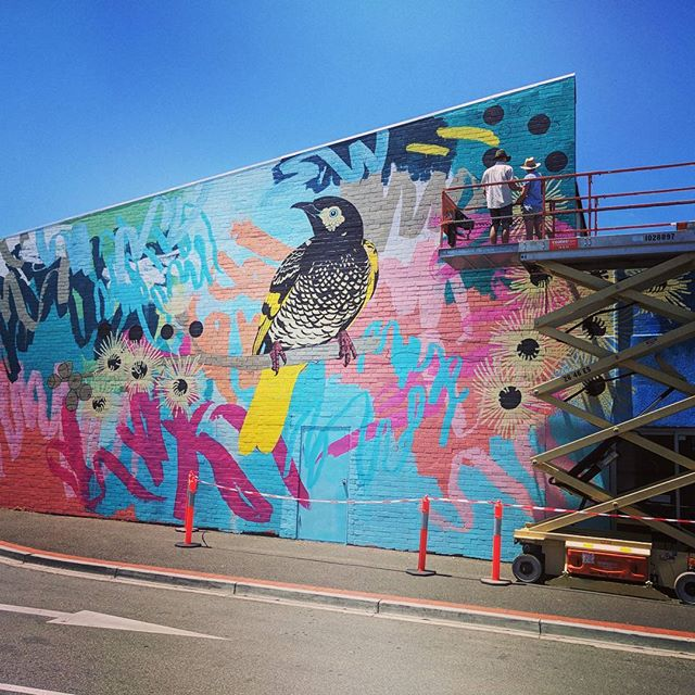 Getting pretty close to this amazing work being done and dusted. Massive thanks to @rowenamartinich and @geoffreycarran they have battled some incredibly hot weather and pulled off an epic painting. #mooneeart #mural #publicart #australianart #abstractart #birds @niddrie_shopping_precinct