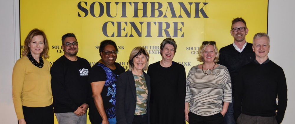 Women in Creative Industries Awards judges (L-R) Dame Julia Peyton-Jones DBE, Nikesh Shukla, Deborah Williams, Jude Kelly, Sarah Crompton, Jenny Sealey MBE, Martin Green and John McGrath. Not pictured: Amy Lamé, Anne-Marie Curtis   and   Maria Balshaw CBE.