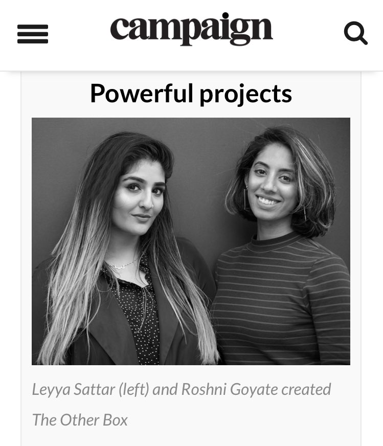 CAMPAIGN  ACCOLADE  We're SO honoured to be named on the Campaign Magazine x Creative Equals Future Creative Leaders list, alongside many of our heroes. Creativity and collaboration are at the heart of what we do.