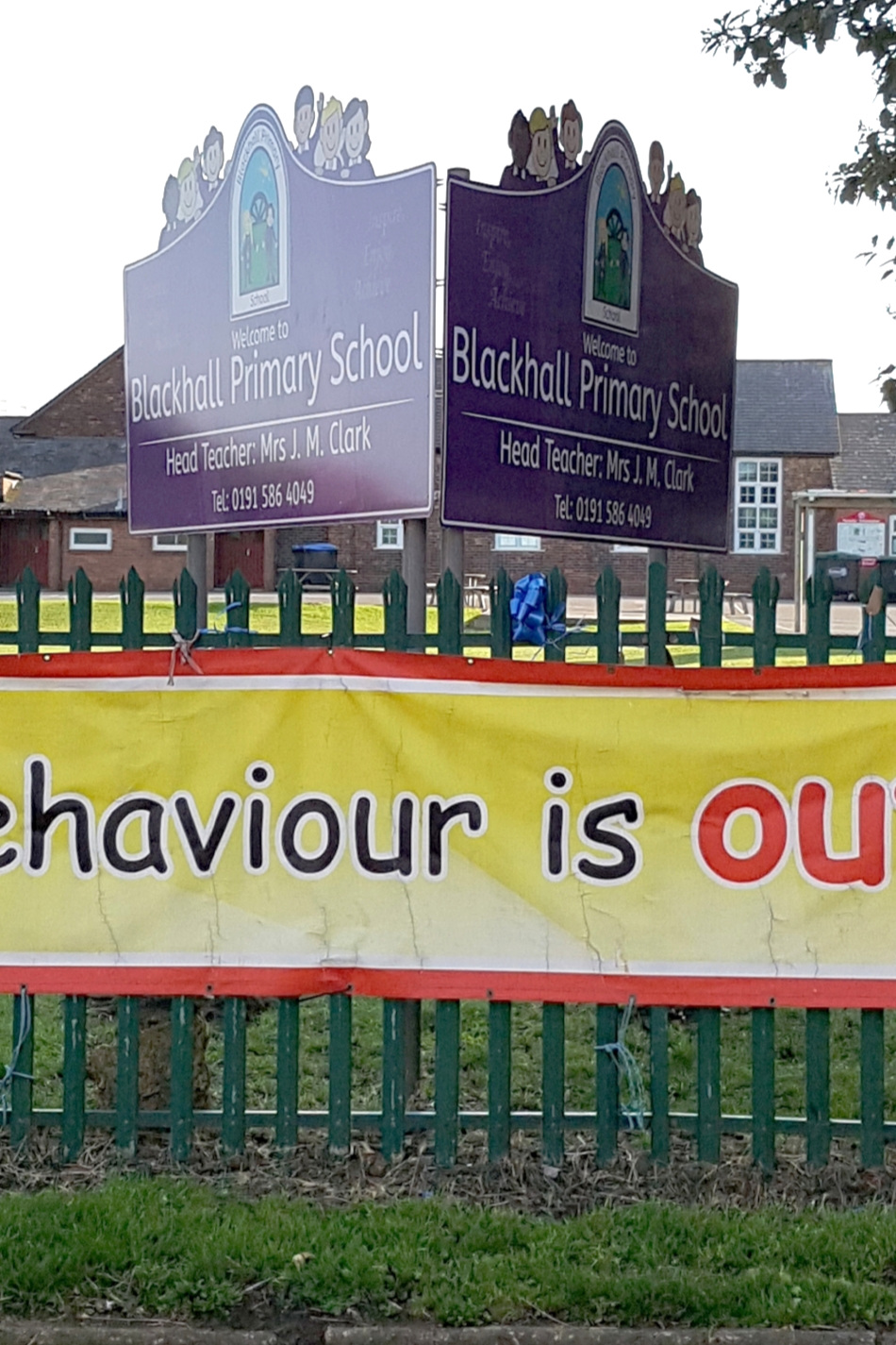Blackhall Primary V-Shaped Post Sign
