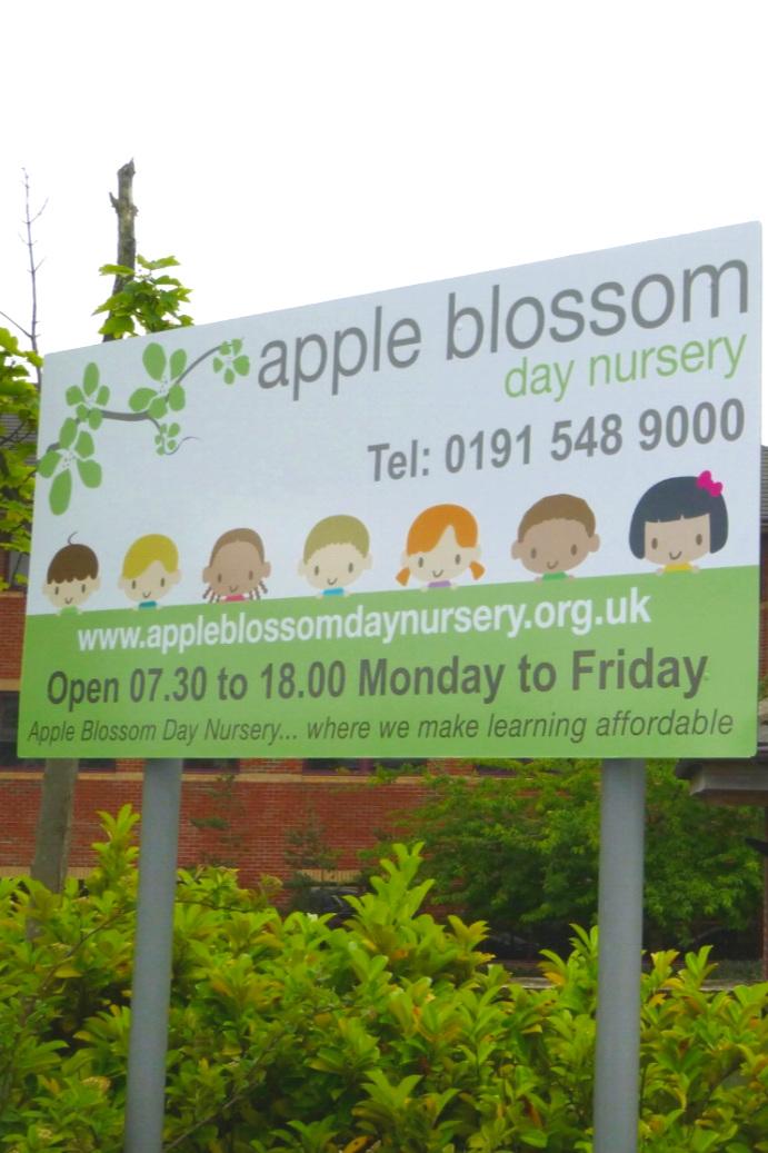Apple Blossom Nursery Post Sign