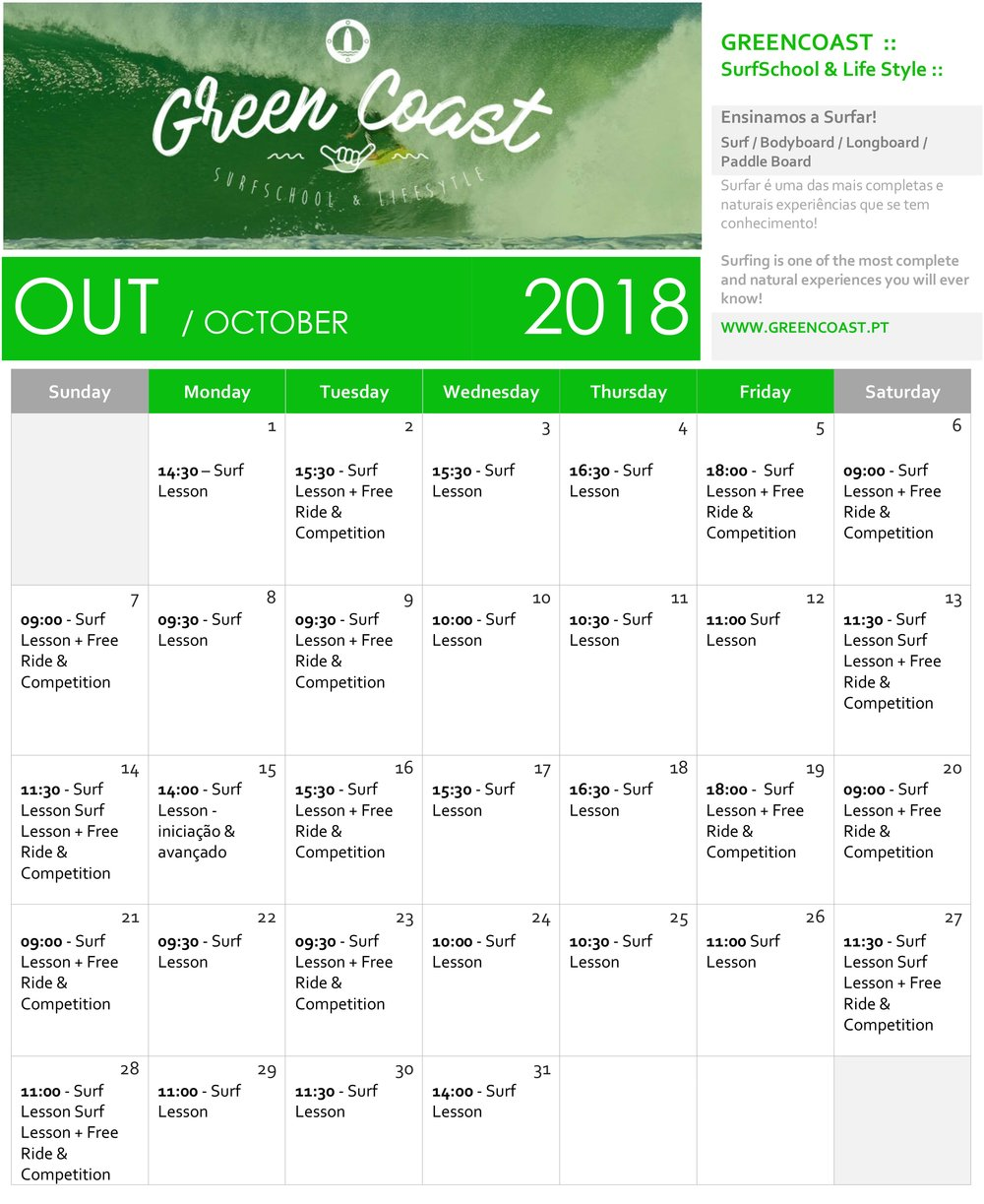 Horario de Outubro / October Schedule / Surf Lessons